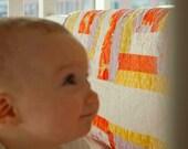 Modern Baby Quilt for Boy or Girl - Patchwork Log Cabin - Orange, Purple, Yellow, White