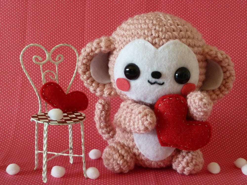 Amigurumi Monkey Etsy : Valentines Day Monkey Amigurumi by janama on Etsy