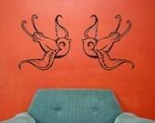 2 swallow vinyl wall decals