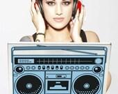 ghetto blaster laptop decal, boombox vinyl art, retro sticker, cassette, mixed tape sticker