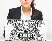sugar skull laptop decal sticker art, custom fit, macbook, pc