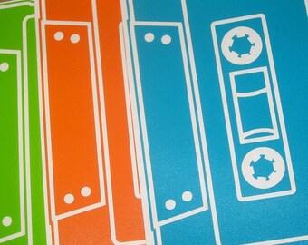 cassette tape vinyl sticker 3-pack, mixed tape decal pack, 80s