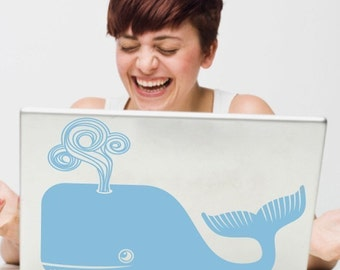 whale laptop decal, sticker art, cute whale laptop decal, FREE SHIPPING