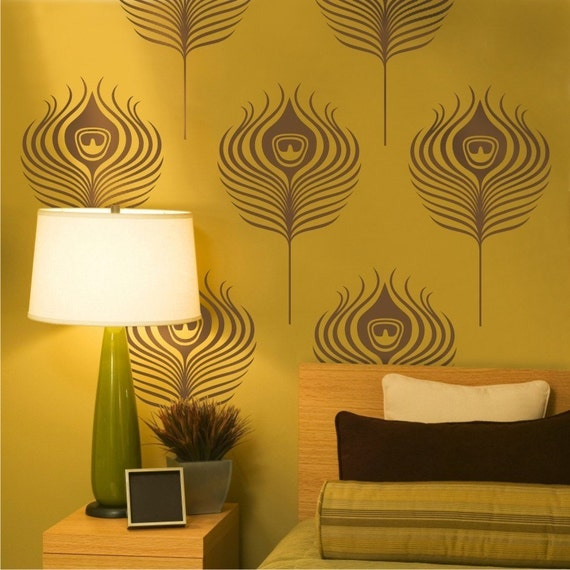 peacock feathers vinyl wall decals by beepart on etsy. Black Bedroom Furniture Sets. Home Design Ideas