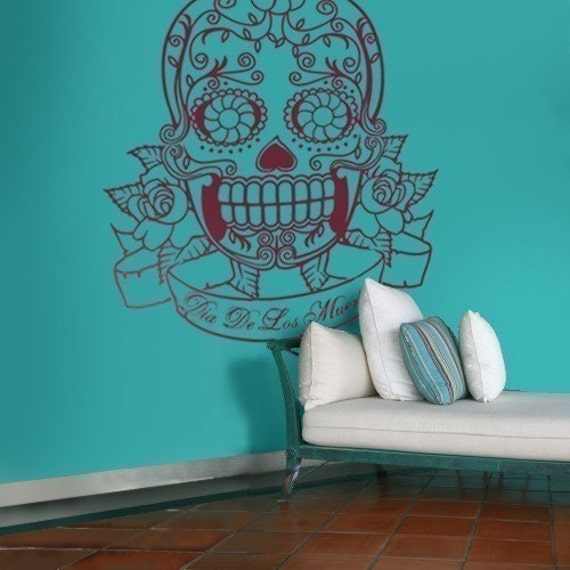 sugar skull vinyl wall decal, large, day of the dead sticker art, large size vinyl, FREE SHIPPING