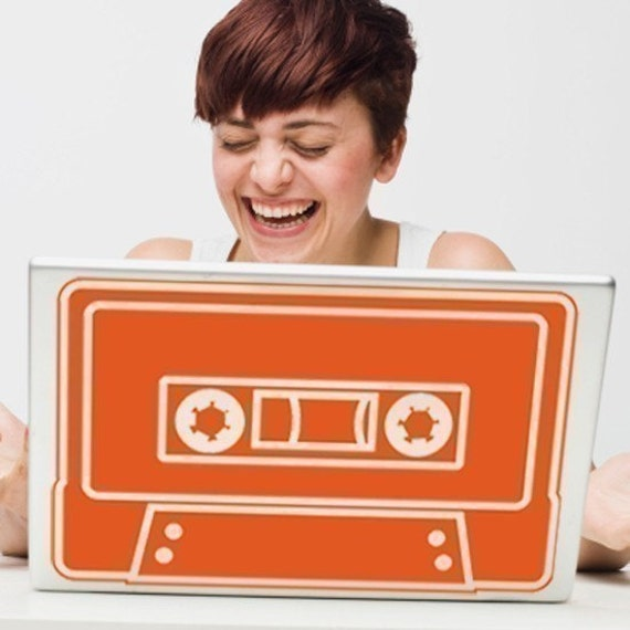 cassette laptop decal, mixed tape retro laptop sticker, 80s sticker art, FREE SHIPPING