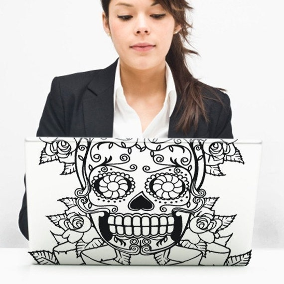 day of the dead vinyl laptop decal, sugar skull sticker art, custom fit