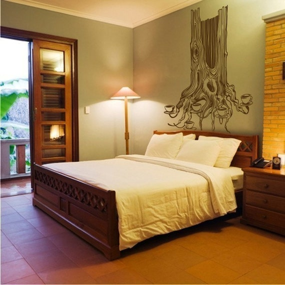 tea tree vinyl wall decal, large size tree wall sticker, tree illustration, FREE SHIPPING