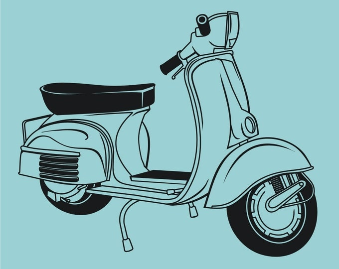 vinyl wall vespa decal art-scooter, retro vespa sticker art, FREE SHIPPING