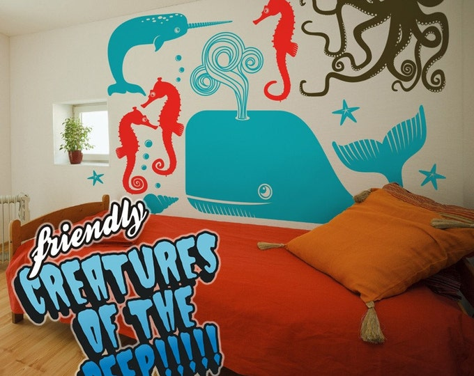 sea creatures wall decal set, vinyl art, children, octopus sticker art, undersea wall art, FREE SHIPPING