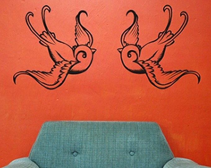 tattoo birds vinyl wall decal sticker art, swallows, traditional tattoo design, FREE SHIPPING