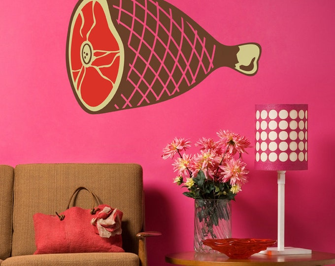big ham wall decal, meat sticker art, kitsch wall art