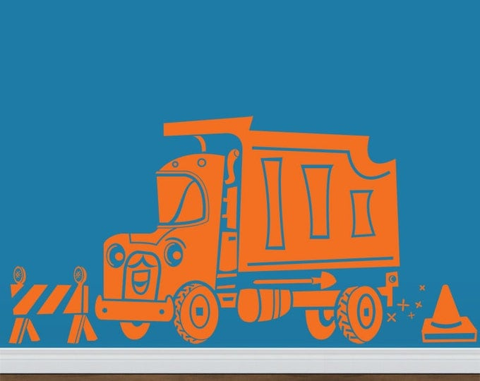 dump truck wall decal- construction equipment Speedy Dump Truck, boys room sticker art, FREE SHIPPING