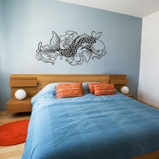 Japanese koi fish vinyl wall decal for Koi wall sticker