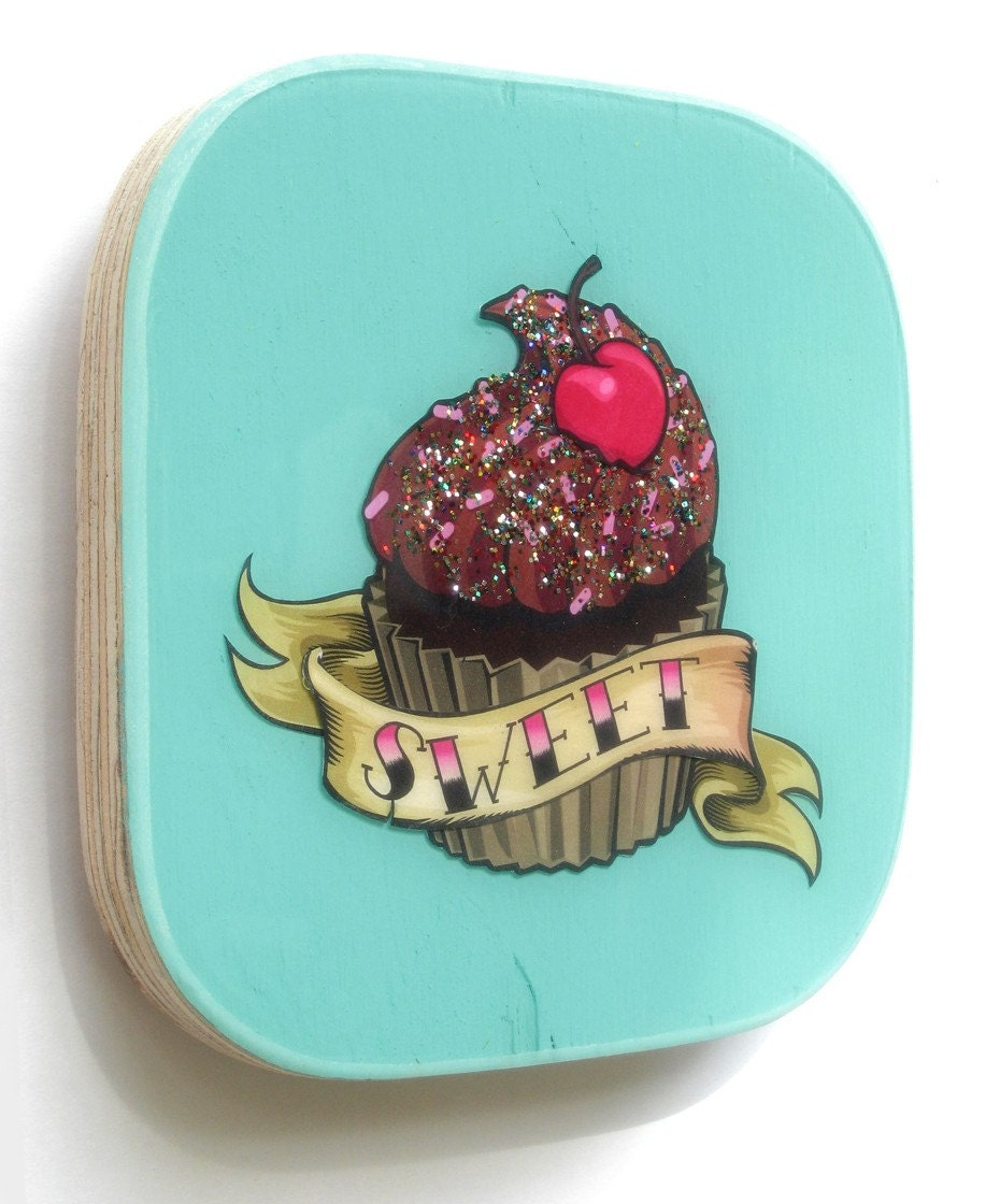 Rockabilly cupcake wall art for Cupcake wall art