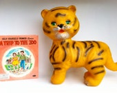 cubby. vintage 1960's squeaky  tiger rubber toy.