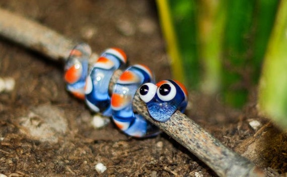 Glass Dreadlock Bead - Blue with orange and white spots