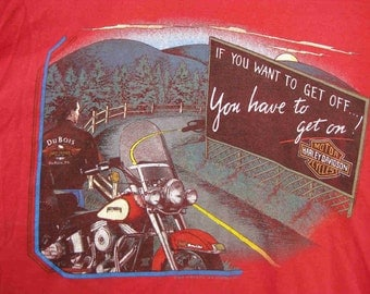 gift it HARLEY RARE Red Pennsylvania 1989 Dubois, PA Cotton harley davidson vintage 80s / 1980s t-shirt