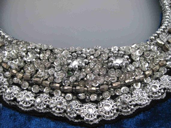 plus size GLASS Jewel COLLAR gown of velour, cocktail party dress, 1970s 70s beaded dress, glass rhinestone dress