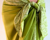 Lemon Lime Sarong Women's Beach Wrap Skirt or Dress - Batik Pareo Green with White Paisley Border - Hawaiian Island Style Sarong Clothing