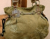 Earthy Green Boho Handbag With Playful Spiral and Leaf Embroidery Aspen Spirit Cotton Canvas