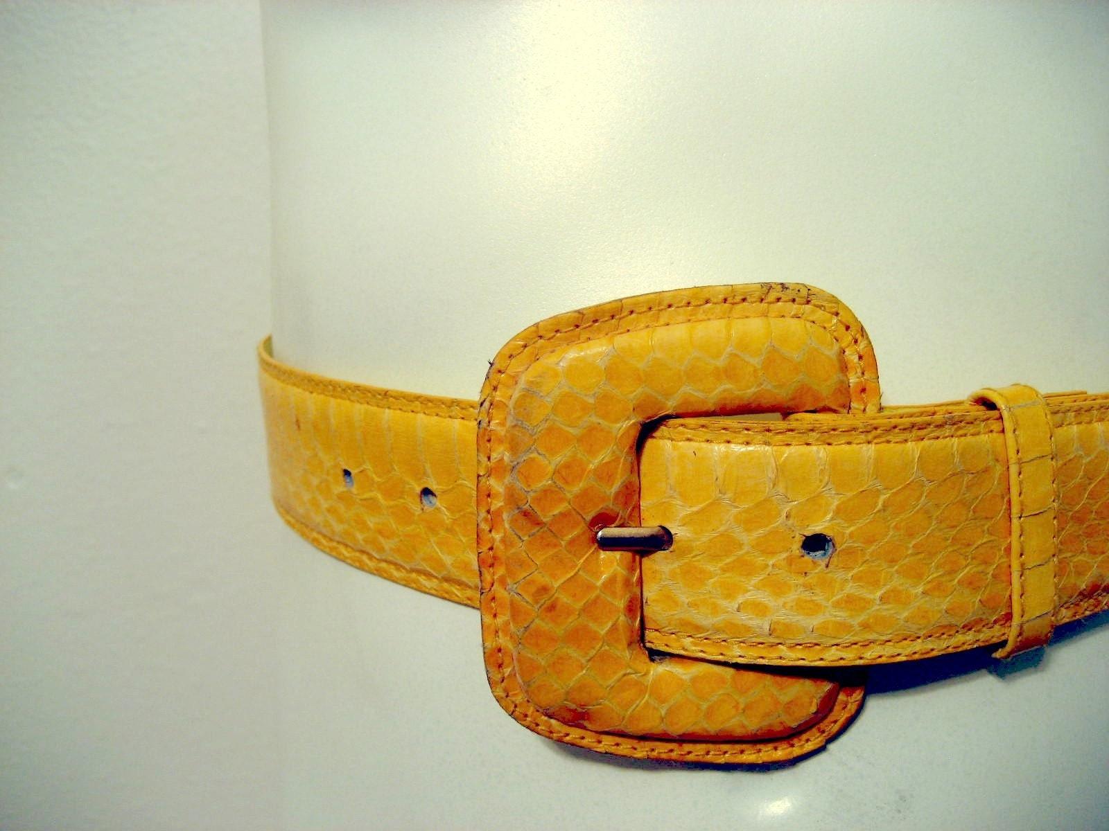 vintage wide yellow snakeskin belt cincher in by therubykitten