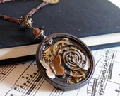 Steampunk Pendant with Vintage Watch Parts - The Time Machine - Ready to Ship