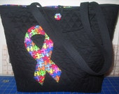 New Black Handmade Autism Awareness Tote Bag