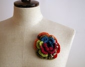 Flower brooch OOAK