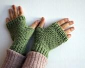 guanti senza dita verdi