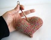 Amigurumi heart keychain charm