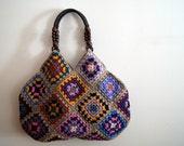 Taupe Crochet granny square bag