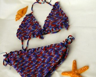 Baby girl crocheted multicolor bikini