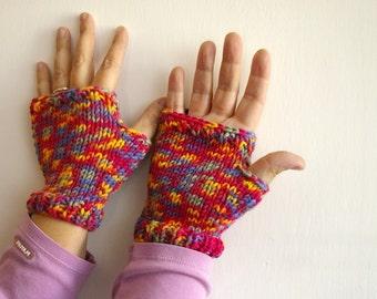 Guanti senza dita multicolori