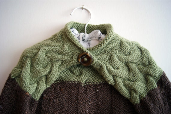 Green and Brown  Baby Capelet