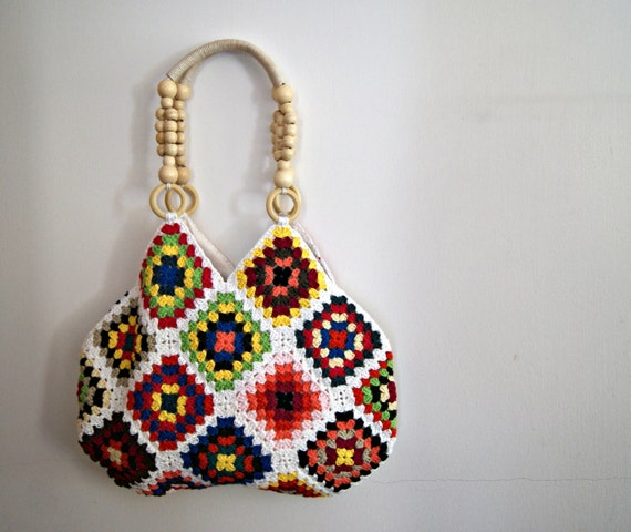White Crochet granny square bag