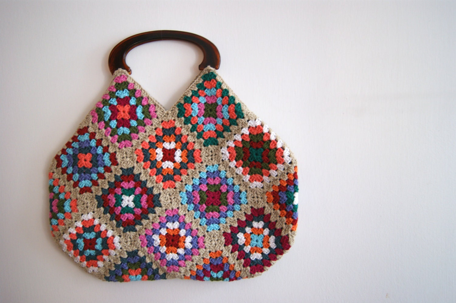 Granny Square Bag : Beige Crochet granny square bag by knittingcate on Etsy