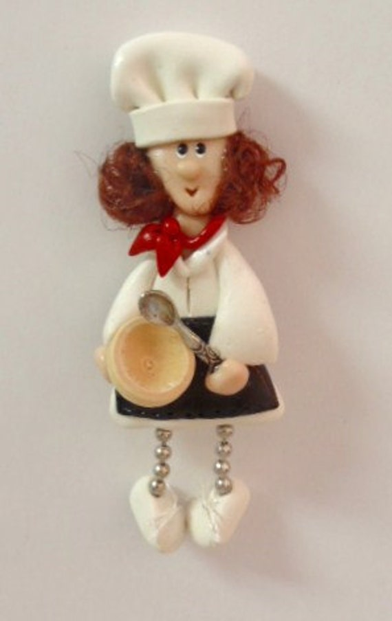 Chef Bake Good:Polymer Clay  pin with wooden bowl and pewter charm