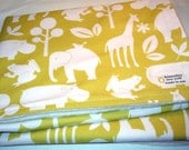 Cotton / Organic Stroller Blanket - Zoology in citron Print