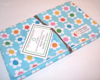 Burp Cloth with style - Cotton / Organic undyed French Terry - Daisy Aqua