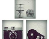 Oh Diana - Diana camera Bulk film loader Film Reels old film camera gear love photographer modern wall decor art Fine Art Print three 8x8