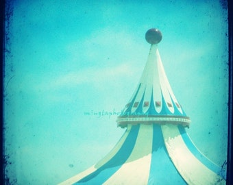 Big Blue Topping - Atlantic City Carousel Circus Fun you spin me ride me merry go around great fun spring blue Fine Art Print 8x8