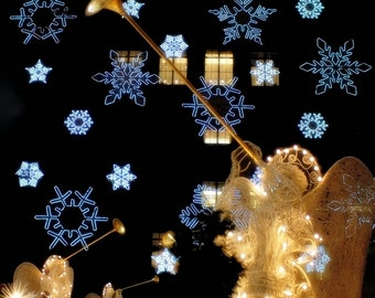 Christmas in NYC 1 - Christmas Snowflake Lights in New York Twinkle Sparkle lights NYC New York City Good Night New York Fine art Print 8x8