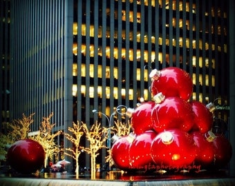 Christmas in NYC 2 - Christmas Hanging Balls art decor in New York City / Twinkle Lights and Holiday Sparkle Fine Art Photograph Print 8 x 8