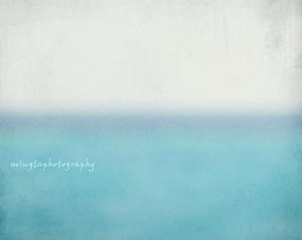 Sea Level Blue Ocean and White Sky nursery decor Horizontal Balance Calm abstract of calm keep calm and carry on wall art beach house deco