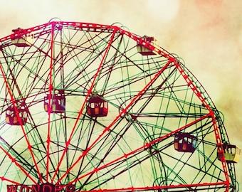 Wonder Wheel - Coney Island Brooklyn New York City Summer rid Ticket to ride Ocean is calling Sea wheel watcher Fine Art Print 8x8