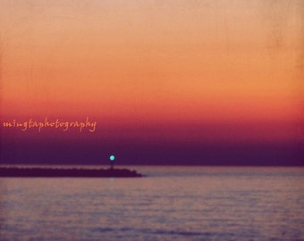 Ocean Dusk - dusk morning light spring natural abstract sunset ocean is calling beach bum Fine Art Photograph Print 8x8