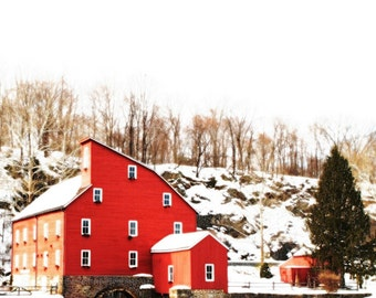 The red mill - Snow on the red mill nursery decor White Christmas First snow Nature Winter old farm house beauty Fine Art Print 8x8