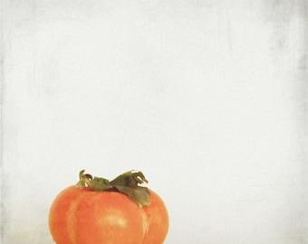 Persimmon 1 - Autumn Fruit, Exotic fruit, shizi, kaki, orange halloween, sweet autumn fall wall decor Fine Art Print 8x8