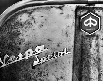 Italian Vespa in BW - Scooters motocycle old courtyard spring summer ride blue for him for dad modern home decor black and white photography